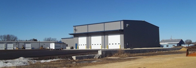 Three-door industrial storage garage