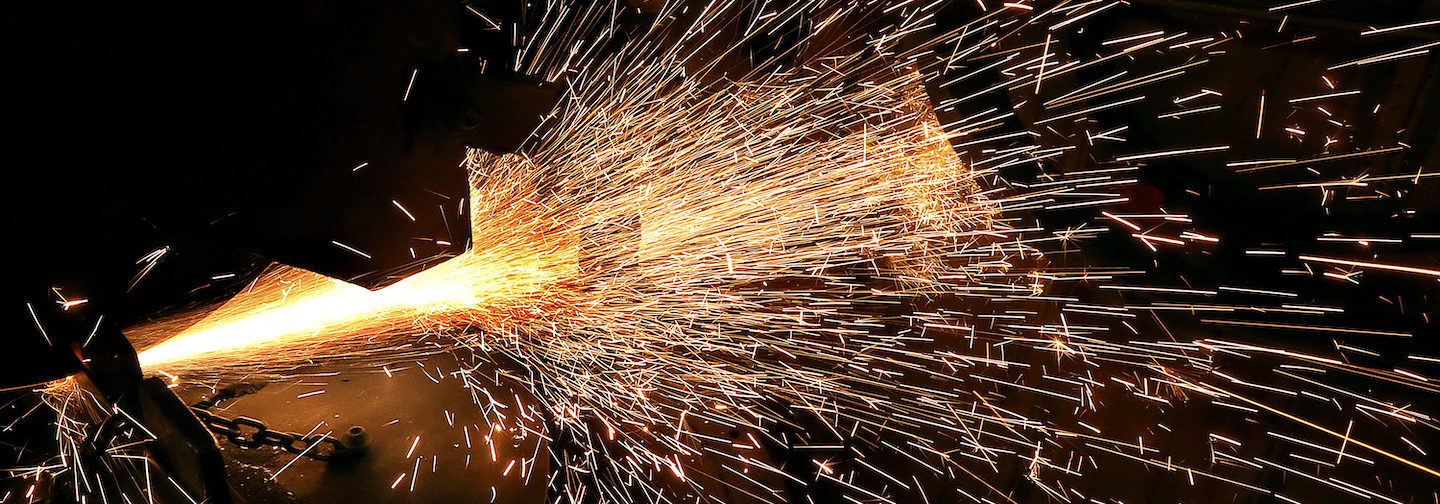 Metal sparks during cutting