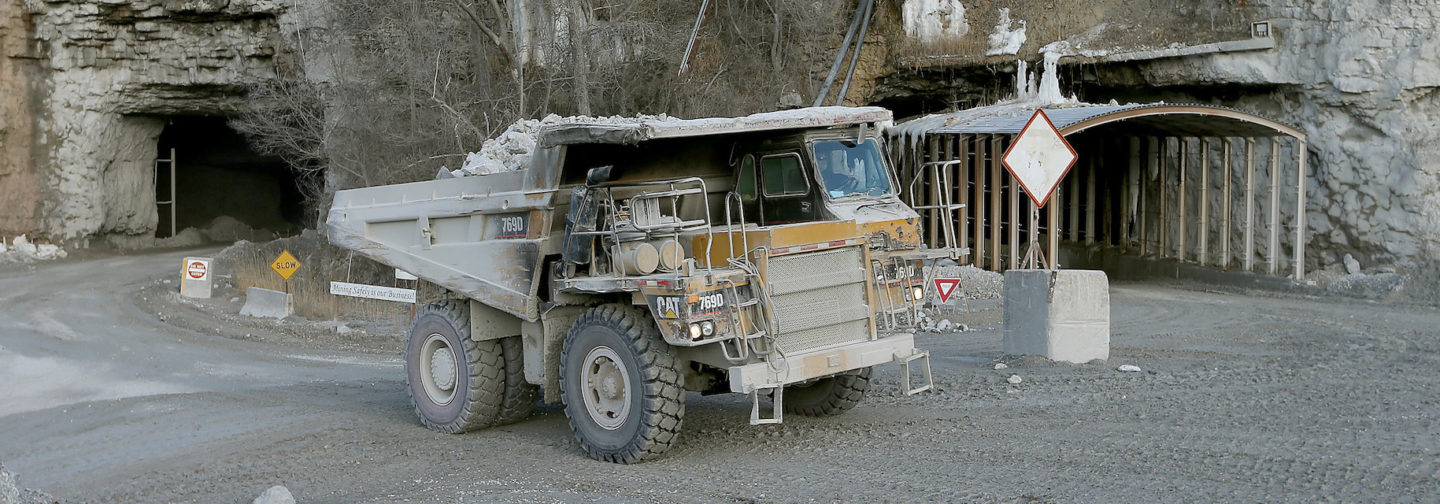 Large dump truck leaving the mine